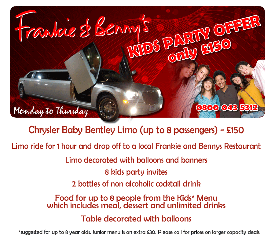 Frankie and Bennys Kids Offer